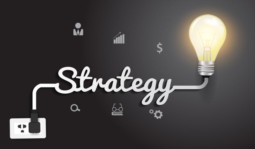 Vector strategy concept with creative light bulb idea